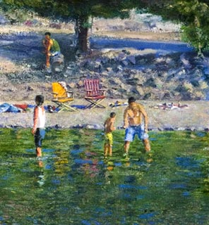 ROD TITUS Individual Works - Bathers on the Yuba River (Detail) OC / Description